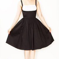 Rockabilly Girl by Bernie Dexter**Black With White Shelf Bust Frenchy Swing Dress - S to XL - Unique Vintage - Cocktail, Evening & Pinup Dresses