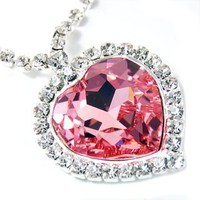 Contessa Bella Fancy Large Pink Swarovski Austrian Crystal Heart of the Ocean Pendant Necklace Eleg