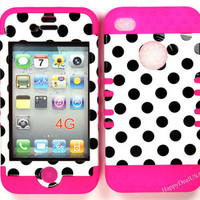 Black Dots on White w/Pink Silicone Hybrid Cover Case Skin for APPLE iPhone 4 4S