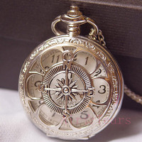 On sale-Steampunk Silver Hollow Six leaf Compass Pocket Watch Necklace Chain D053