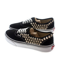 Studded Vans, Silver cone studs with Black vans by CUSTOMDUO on ETSY