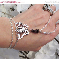Be My Valentine Butterfly Garnet Slave Bracelet Ring. Silver tone Chain, Silver tone metal Butterfly w genuine Garnet Gemstone Beads. Custo