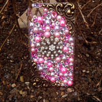 Sparkly Vintage Pink & Gold Star iPhone 4/4s Case- Starry Sunset