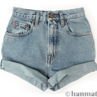 ALL SIZES &quot;TURN&quot; Vintage Levi high-waisted denim shorts blue cuffed rolled turn up jeans
