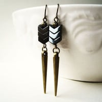 Chevron Hematite Earrings, Antique Brass Dagger Earrings, Geometric Jewelry. Grey Earrings. Spike Earrings. Unique Metallic Jewelry.