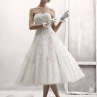 Strapless Tulle Embellished Tea Length Gown - David's Bridal