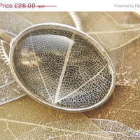 On Sale Festive Oval Skeleton Leaf Pendant with by PowderButterfly