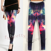 Women's Printed Galaxy Fired Clouds Elastic Stretchy Legwear Tights Leggings Khs