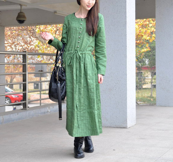 Linen Maxi Gown Dress in Green /Winter Trench Coat by camelliatune