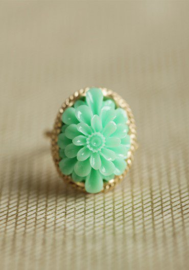 sweet mint flower ring at ShopRuche.com
