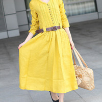 Custom Yellow Linen Dress / Maxi Evening Dress by camelliatune