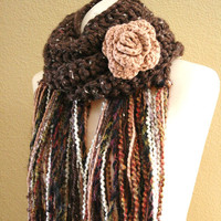Crochet Rose Scarf Neckwarmer Super Soft Rustic by nightowlcreates