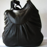 Brown Leather Pleated Tote on Luulla