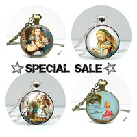 Alice in Wonderland Necklace Sale Jewelry Discount Pendants with Chains Included Handcrafted Jewelry by Lizabettas