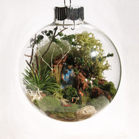 Resting Hiker Scene Glass Ornament by TheFittingPiece on Etsy