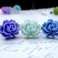 Rose Ring Mix - Adjustable Band Vintage Style Resin Flower Ring