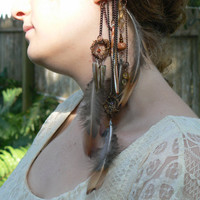 feather dreamcatcher ear cuff wrap dream catchers feathers mop teeth malachite  native american inspired tribal gypsy boho hippie style