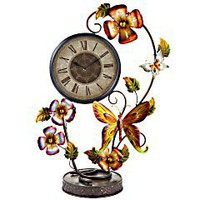 Product Details - Flowers & Butterflies Metal Clock
