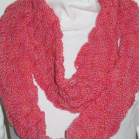 Hand painted wool infinity scarf by FlyingNeedlesKnits on Etsy