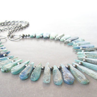 blue kyanite and silver necklace by theBeadAerie on Etsy