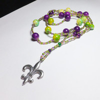 Fleur de Lis with Mardi Gras Glass Beadwork Necklace