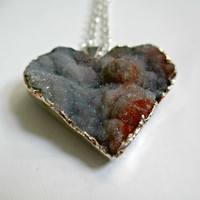Cosmic Lover. Chalcedony Druzy Heart. Healing Crystal Necklace. Valentines Gift