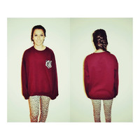 Maroon Cut crew sweatshirt with patterned pocket