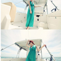 Korean V-neck Green Girls Floor-length Long Dresses : Wholesaleclothing4u.com