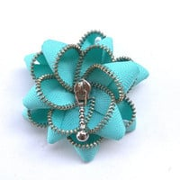 Floral Brooch cyan / Zipper Pin - Approx 2,8in/ 7 cm-eco friendly, YKK Zipper, recycled jewelry