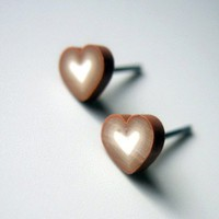 Free Shipping Tiny Brown and White Heart Earring by MistyAurora