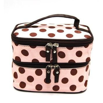 DEDC Double Layer Cosmetic Bag Pink with Coffee Dot Travel Toiletry Cosmetic Makeup Bag Organizer W