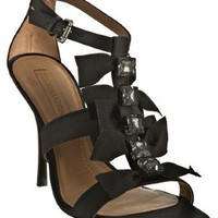BCBGMAXAZRIA black satin 'Adabella' t-strap sandals | BLUEFLY up to 70% off designer brands