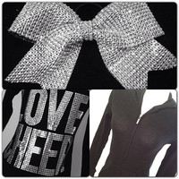 Silver &amp; Black Love Cheer Jacket and Rhinestone Cheer Bow Set