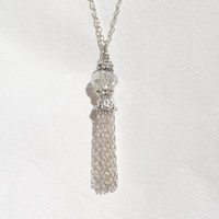 Large Silver Tassel Necklace, Crystal Tassel Necklace, Beaded Silver Tassel Necklace
