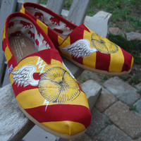 Wizard&#x27;s sport shoes-wings-red and gold-hand painted on TOMS shoes-made to order