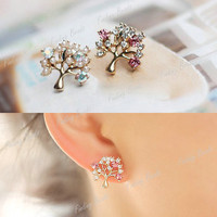 Fashion Cute Gold Rhinestone Pearl Pierced Christmas Tree Earrings Ear Stud NEW