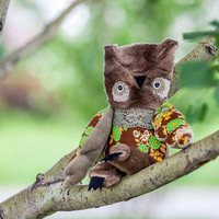 Tadeush owl , soft  art toy by  Wassupbrothers.