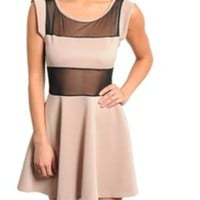 Mesh Insert Skater Dress - Taupe — Tanny's Couture LLC