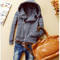Simple Womens Casual Grey Oblique Zip Hooded Long Sleeves Hoodie