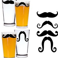 Set of 4  Moustache Beer Glass  Personalized  Choice by gotdecalz