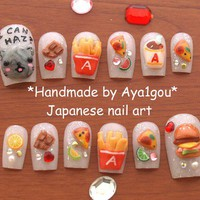 3D nails, fastfood, Nyan cat, kitteh, cheezburger, Japanese, fake nails