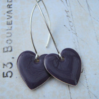 Purple Heart Earrings, Eggplant Dangle Heart Earrings, Enamel Heart Earrings, Sterling Silver Enamel Heart Earrings