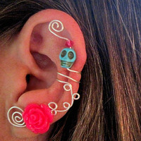 1 Non Pierced Cartilage Ear Cuff - Halloween, Dia de los Muertos, Samhain Skull Rose Color Choices