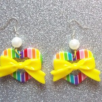 Kawaii Rainbow Heart Earrings from On Secret Wings