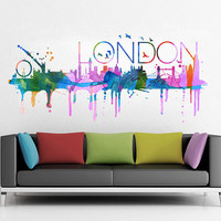 London skyline Watercolor, decal for housewares