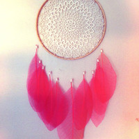 Sheer Pink Leaf DREAMCATCHER with Irish Lace & FREE SHIPPING