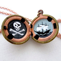 $38.00 Pirate Locket  Original Painted Jolly Roger by kharaledonne