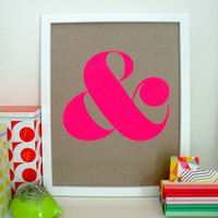 Ampersand Screen Print  Neon Pink by shopampersand on Etsy