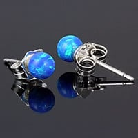 4mm Caribbean Blue Opal Ball Stud Post Earrings Solid 925 Sterling Silver