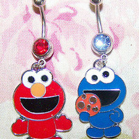 ~oligo's~ Awesome ELMO & COOKIE MONSTER belly ring